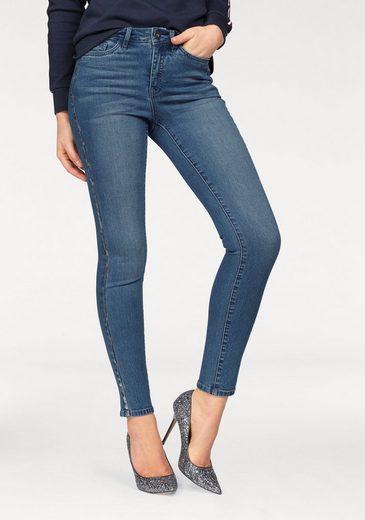 Waist Skinny Mit fit Print« High »seitennaht Arizona Silberfarbenem jeans xUzn68wR