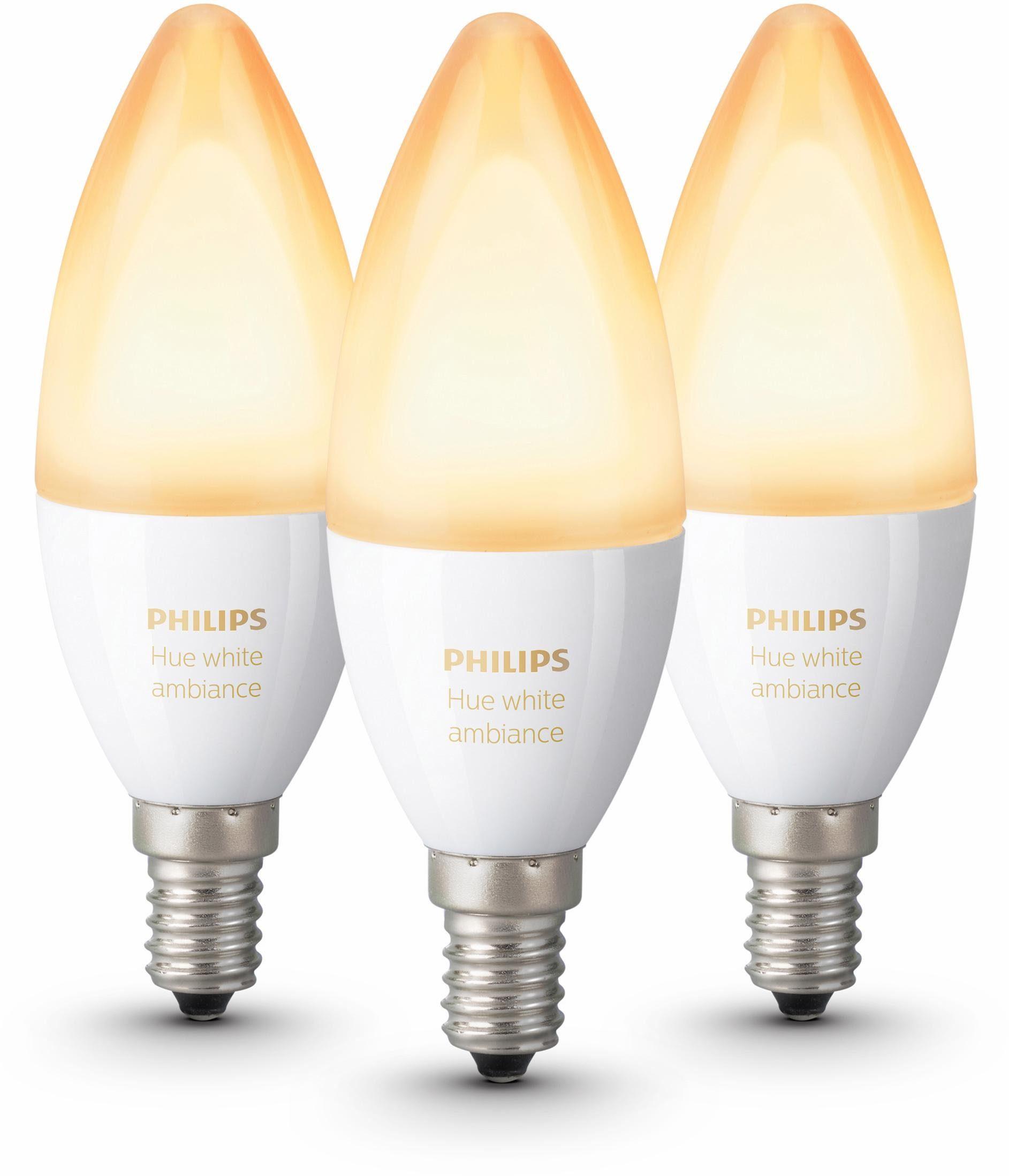 Philips Hue »White Ambiance Kerze« LED-Lichtsystem, E14, 3 Stück, Neutralweiß, Tageslichtweiß, Warmweiß, Extra-Warmweiß, Farbwechsler, smartes LED-Lichtsystem mit App-Steuerung