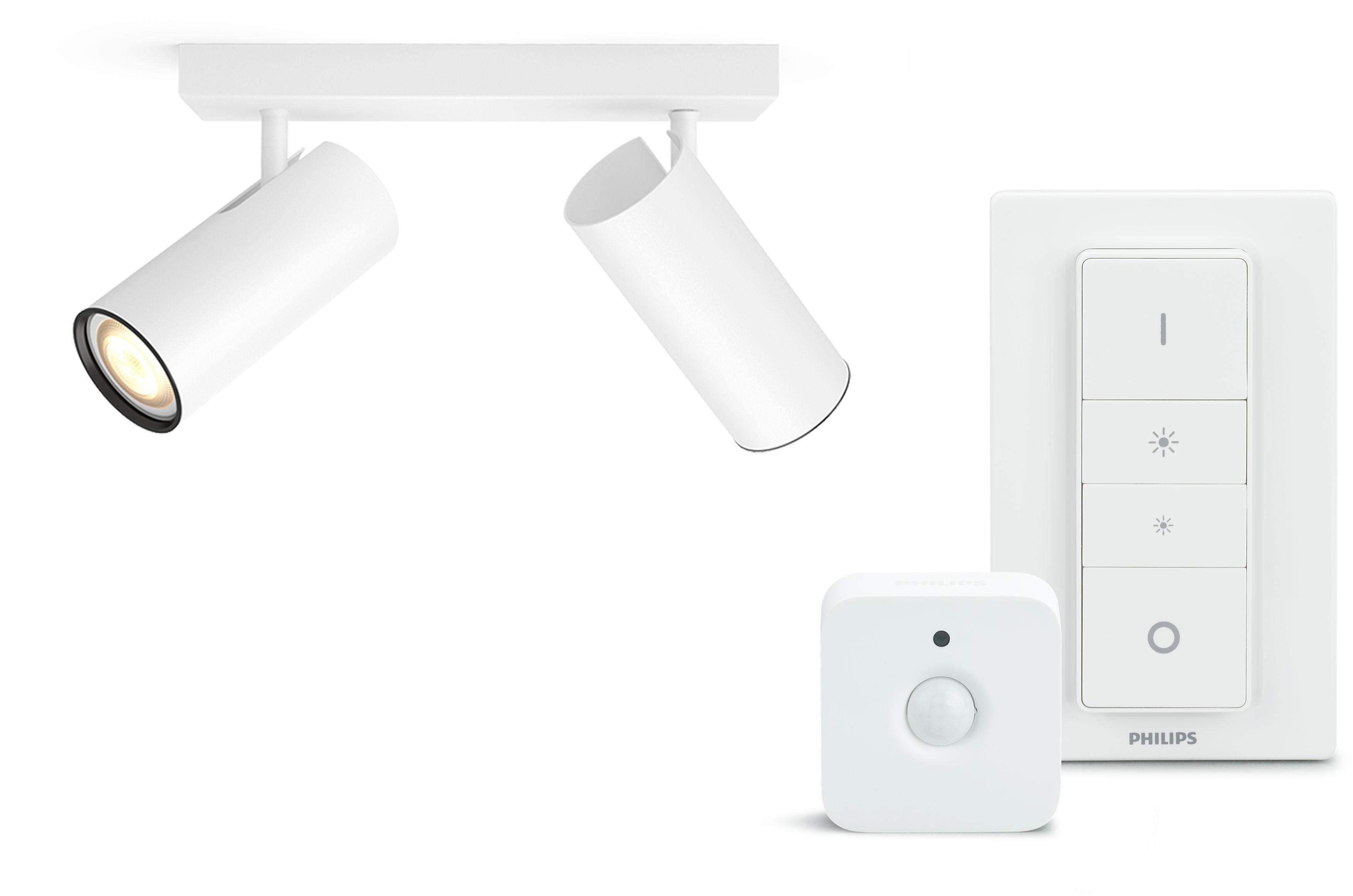 Philips Hue LED Deckenspot »LED Spot Buratto weiß inkl. Dimmschalter und Bewegungsmelder«, 2-flammig, Farbwechsler, Neutralweiß - Tageslichtweiß - Warmweiß, smartes LED-Lichtsystem mit APP-Steuerung