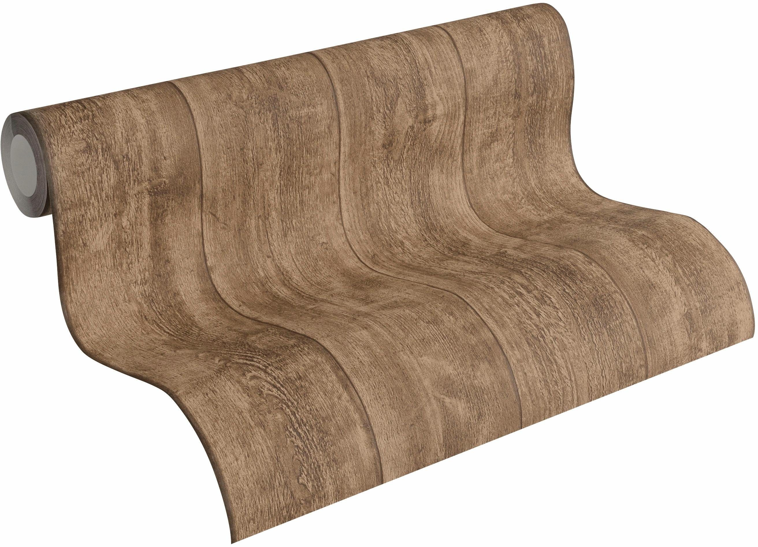 Vliestapete »Best of Wood`n Stone in Vintage Holz Optik«, gestreift, FSC®, RAL-Gütezeichen