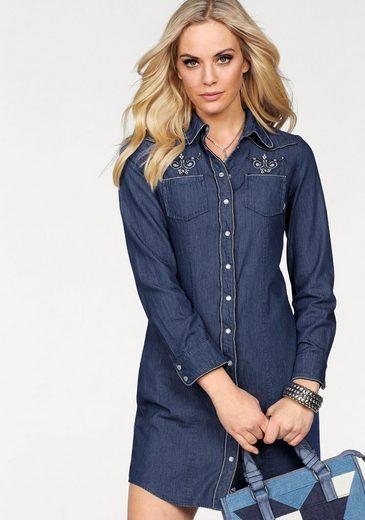 Arizona Jeanskleid »mit edler Stickerei im Ethno Look« und Druckknöpfe in Perlmutt-Optik