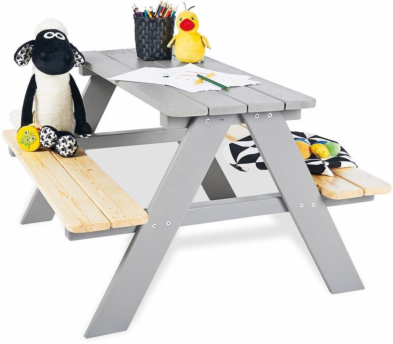 Pinolino Kindersitzgarnitur aus Holz, »Nicki für 4, grau«