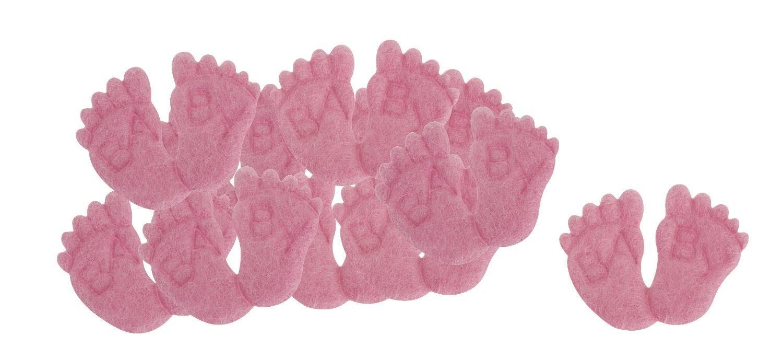 """Filz Streuteile """"Babyfüßchen rosa"""" 10 Stück"""