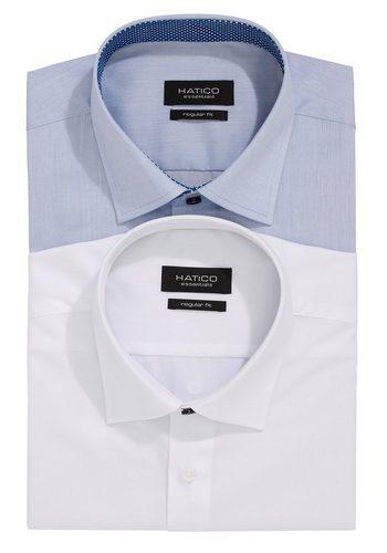 Herren Hatico Elegante Uni-Hemden im Doppelpack Hatico Jubiläums-Edition bunt,mehrfarbig | 04059825189489