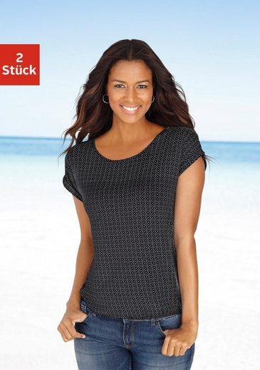 LASCANA T-Shirt (2er-Pack) mit modischem Cut-out im Nacken