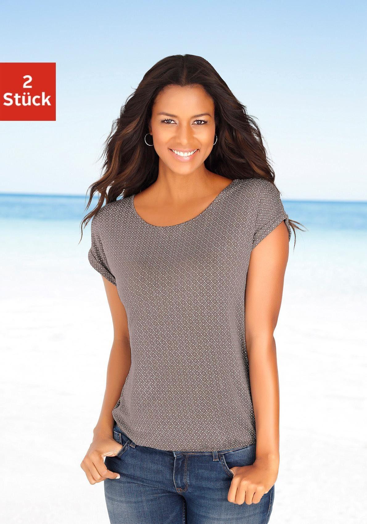 Damen T-Shirts (2 Stück) mit Cut-out im Nacken, schwarz Lascana