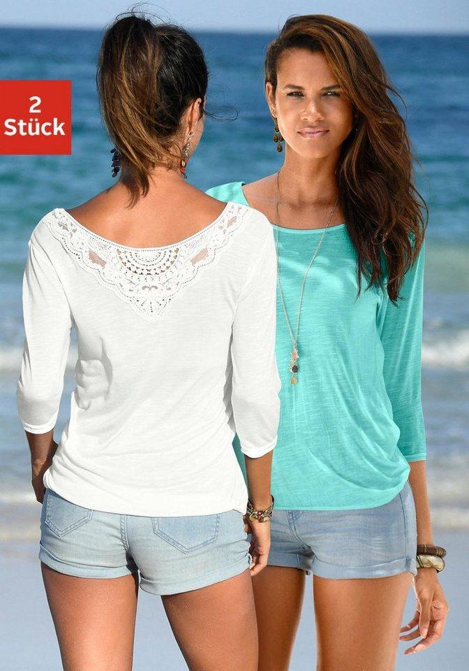 beachtime shirts 2 st ck mit spitzendetail am r cken online kaufen otto. Black Bedroom Furniture Sets. Home Design Ideas