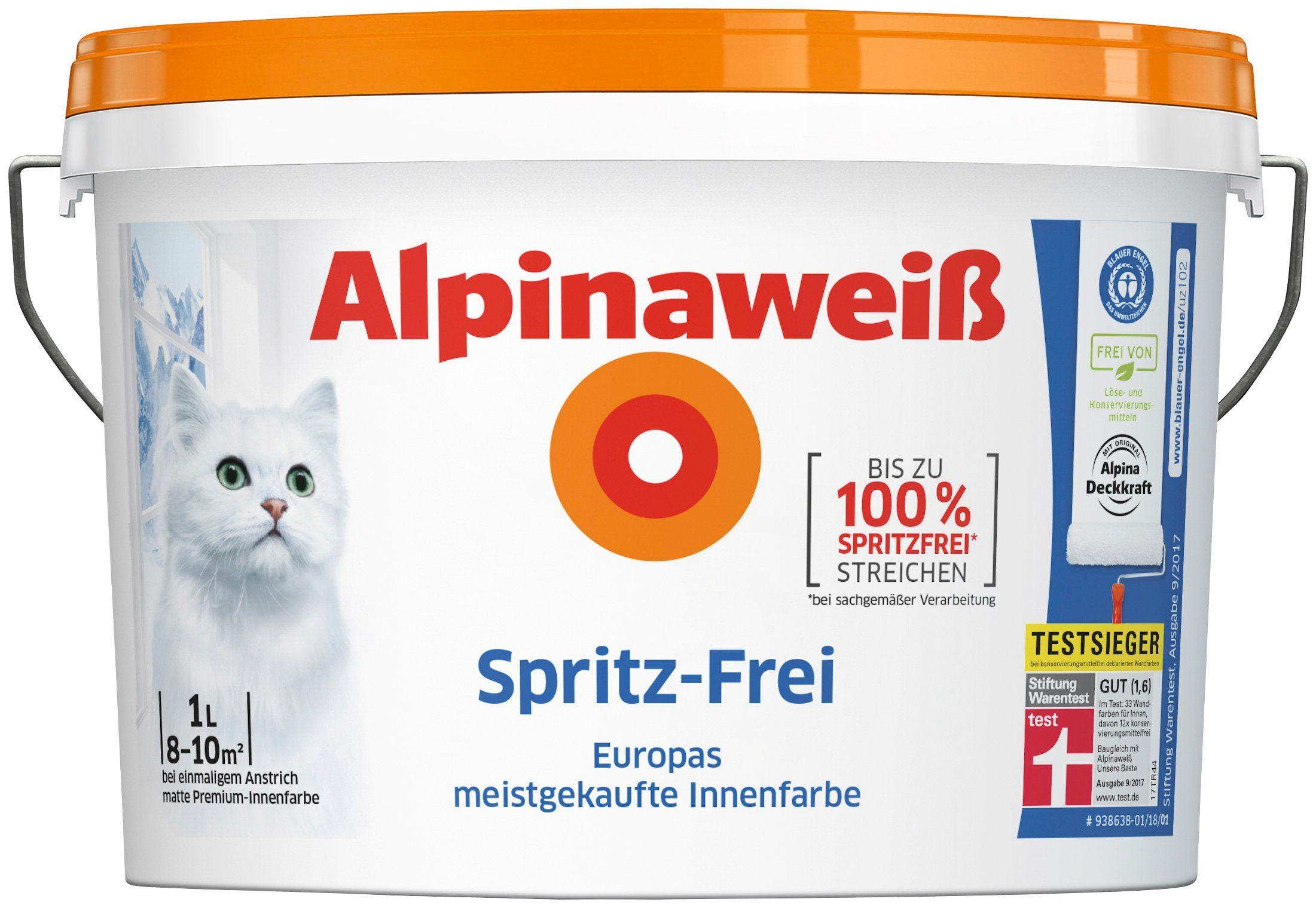 ALPINA Innenfarbe »Spritz-Frei«, Alpinaweiß 1 l