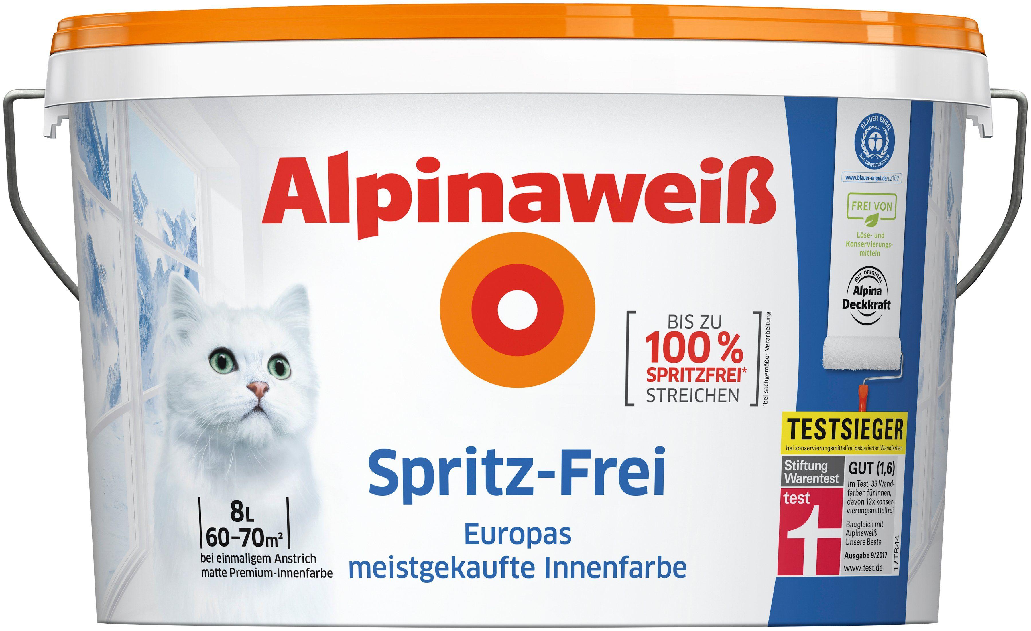 ALPINA Innenfarbe »Spritz-Frei«, Alpinaweiß 8L