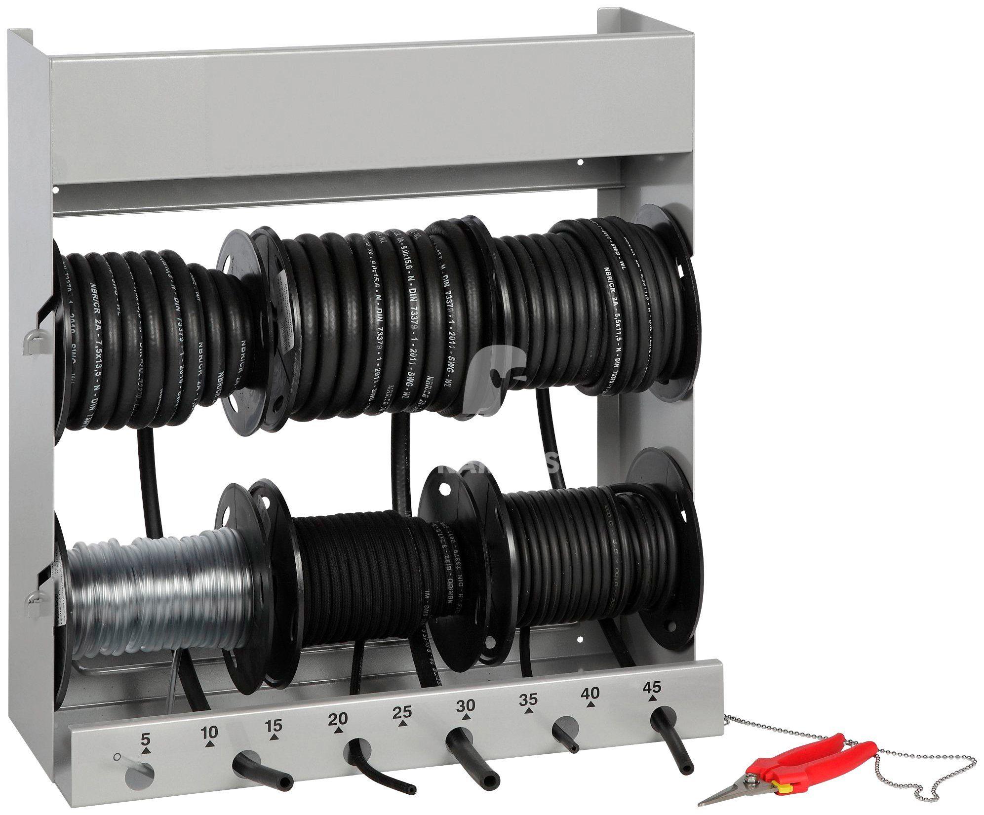 RAMSES Benzinschlauch , Abrollsystem 6-fach RAL 9006 bestückt