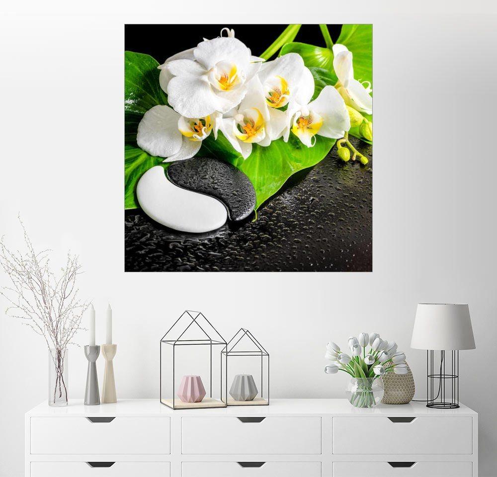 posterlounge wandbild spa arrangement mit weisser orchidee