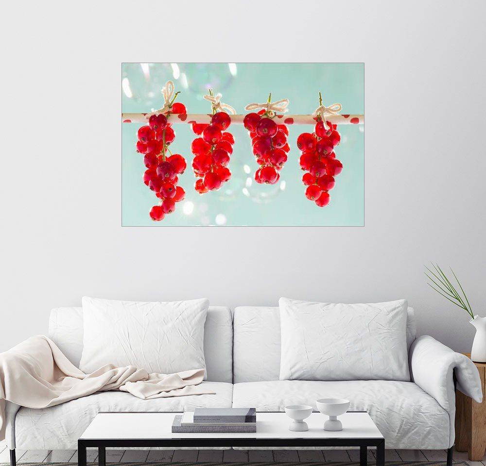 Posterlounge Wandbild - K&L Food Style »Rote Johannisbeeren« | Dekoration | Holz | Posterlounge