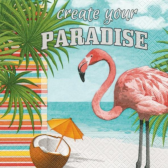 Serviette ´´Flamingo Paradies´´ | Heimtextilien > Tischdecken und Co > Servietten | Papier