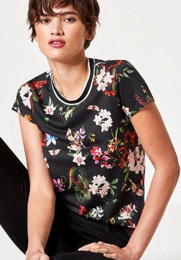 HALLHUBER Blumen-T-Shirt mit Lurex-Ausschnitt