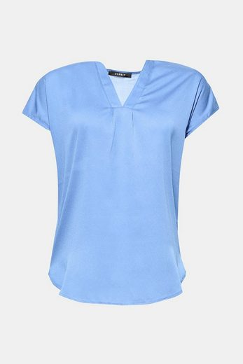 ESPRIT COLLECTION Soft fließendes Blusen-Top mit V-Ausschnitt