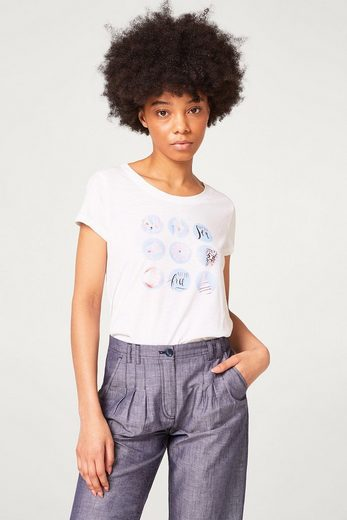 Edc By Esprit-print Shirt With Burn-out Effect