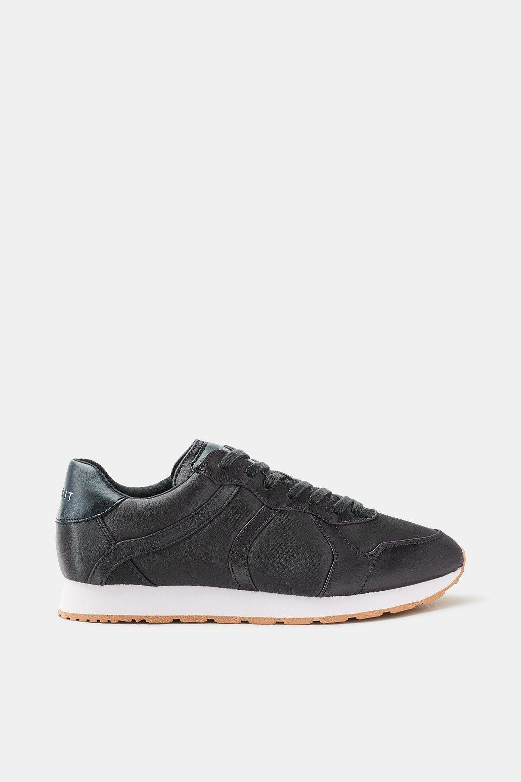 Esprit Fein schimmernder Sneaker zum Schnüren für Damen, Größe 40, Black