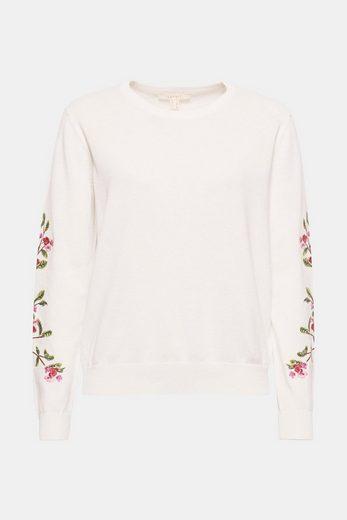 ESPRIT Strick-Pullover mit Blumenstickerei, aus Baumwolle