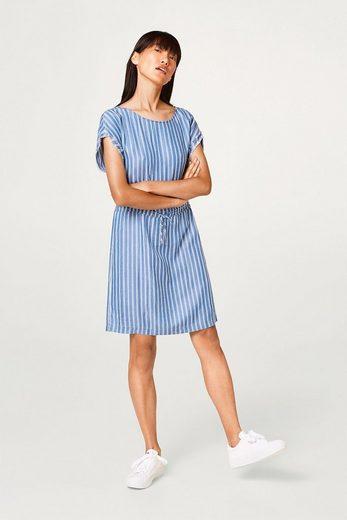 ESPRIT Gestreiftes Lyocell-Kleid im maritimen Look