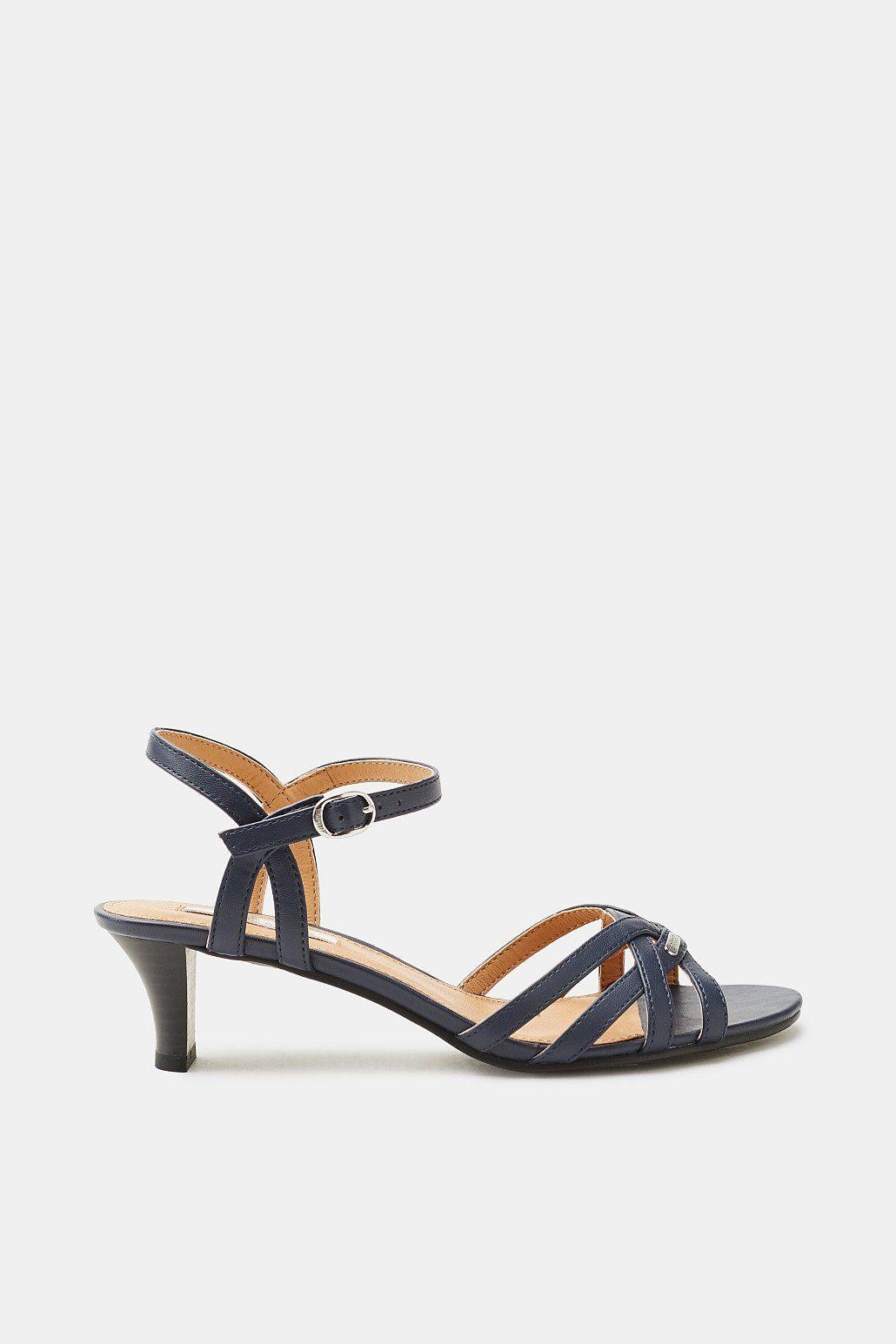 Esprit Flache Sandale in Leder-Optik für Damen, Größe 36, Navy