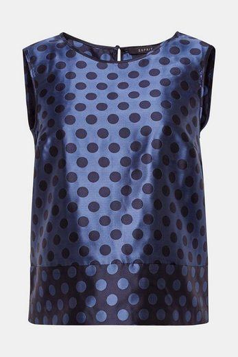 ESPRIT COLLECTION Jacquard-Bluse mit Punkt-Dessin