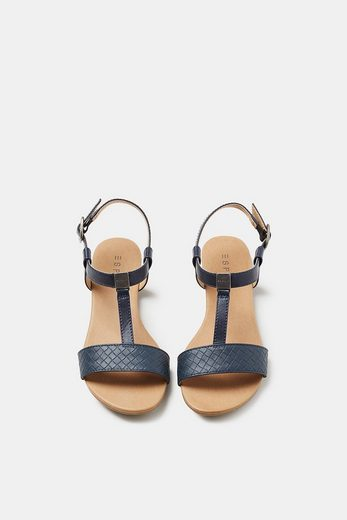 ESPRIT Flache Sandale in geflochtener Leder-Optik