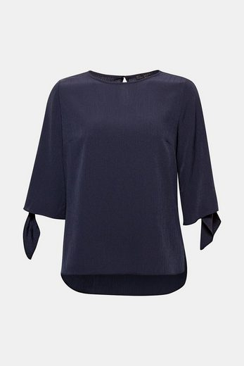 ESPRIT COLLECTION Fließende Crinkle-Bluse mit geknoteten Ärmelenden
