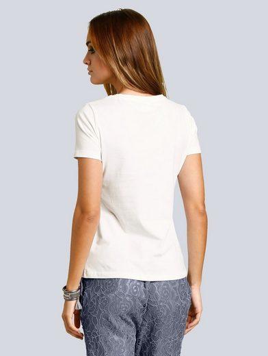 Alba Moda Shirt mit Spitze und Folienprint