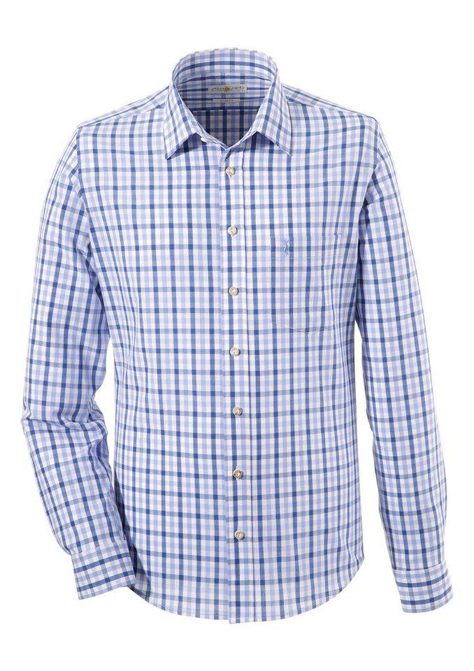 Almsach Trachtenhemd in schmaler Form | Bekleidung > Hemden > Trachtenhemden | Blau | Almsach