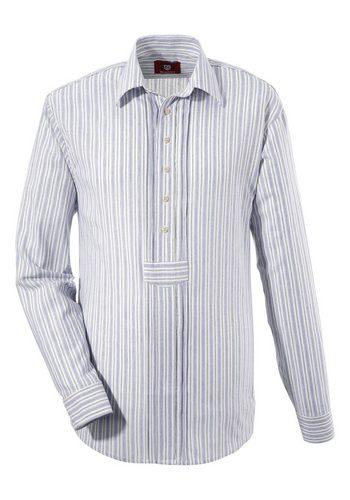 Herren OS-Trachten Trachtenhemd im modischem Streifendesign blau   04059755772768
