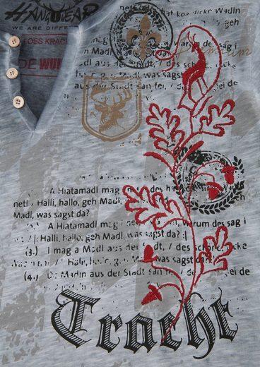 Hangowear Trachtenshirt Herren mit Aufdruck und Stickerei