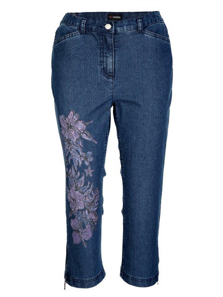 miamoda jeans mit blumendruck am rechten bein otto. Black Bedroom Furniture Sets. Home Design Ideas