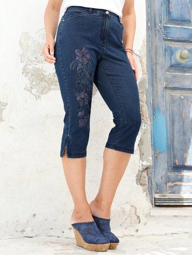 MIAMODA Jeans mit Blumendruck am rechten Bein