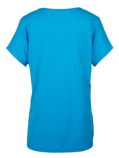 Miamoda Long Shirt With Decorative Stones On Cutting