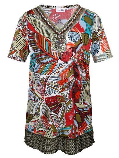MIAMODA Longshirt mit Pailletten- und Perlenbesatz