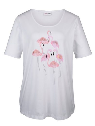 MIAMODA Shirt mit Flamingo-Motiven vorne