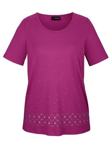 MIAMODA Shirt mit verschiedenen Dekosteinen besetzt