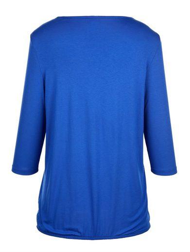 MIAMODA Shirt mit Schnürung am Ausschnitt