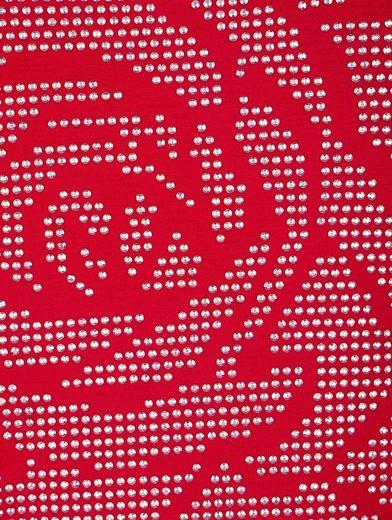 MIAMODA Shirt mit Rosenmotiv aus Dekosteinchen