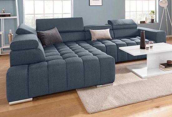 exxpo - sofa fashion Ecksofa, mit Kopf- bzw. Rückenverstellung, wahlweise mit Bettfunktion