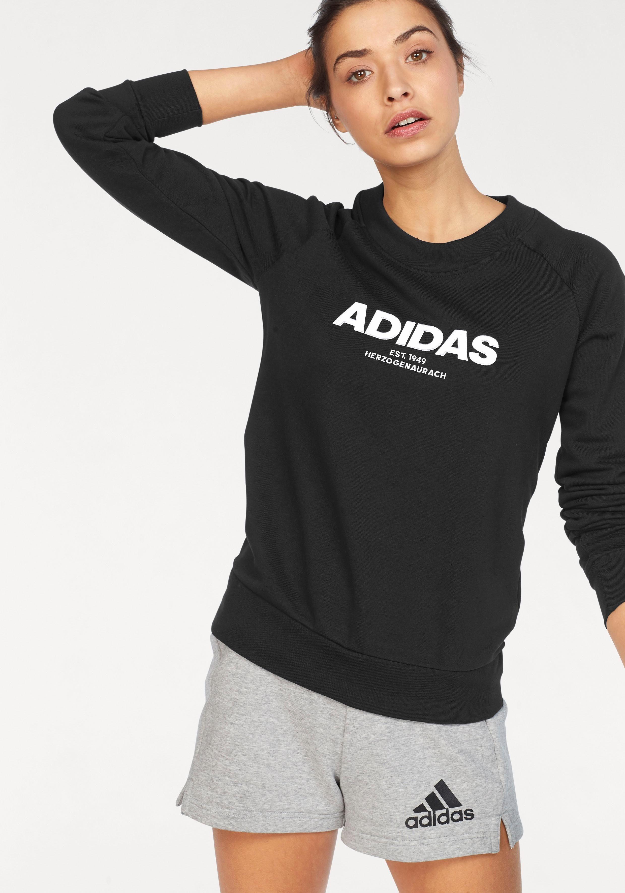 adidas Sweatshirt Label Print Raglanärmel für Damen Rosa