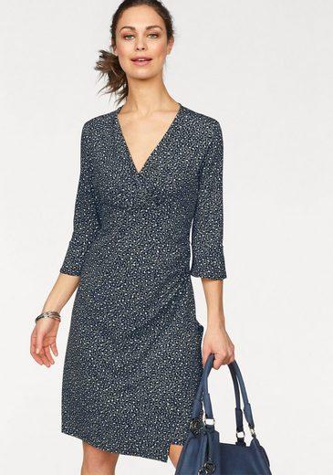 Olsen Jerseykleid Jerseykleid in Wickeloptik mit Leodruck