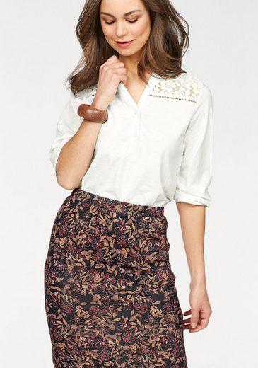 Boysen's Shirtbluse aus Strukturgarn mit Spitzenbesatz