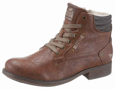 Mustang Shoes Schnürstiefel mit Logo Applikation 9334bc310d