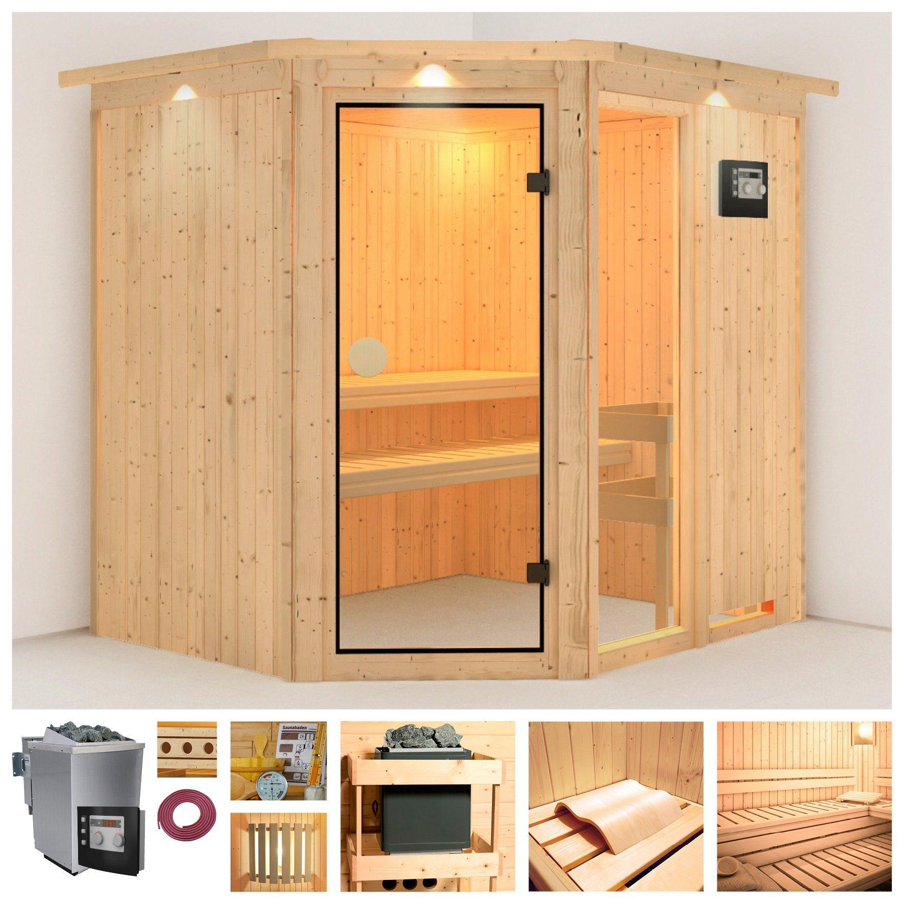 Sauna »Sofia 2«, 196/170/198 cm, 9-kW-Bio-Kombiofen + Dachkranz