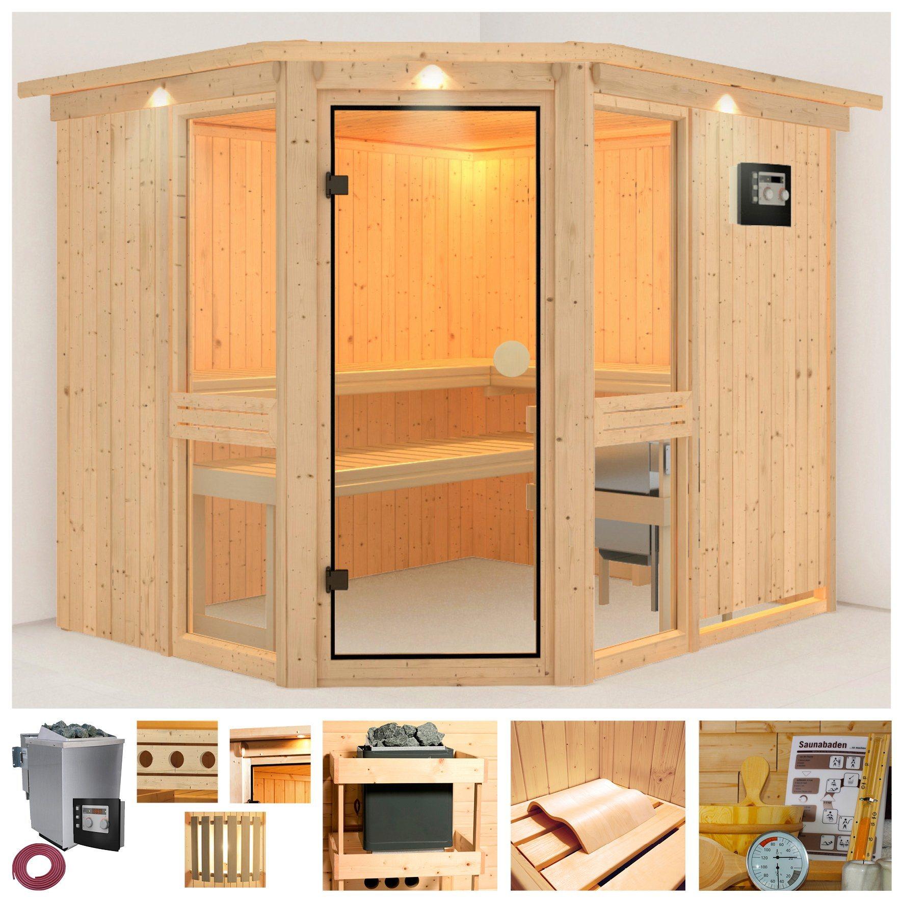Sauna »Angelina 2«, 231/196/198 cm, 9-kW-Bio-Kombiofen + Dachkranz