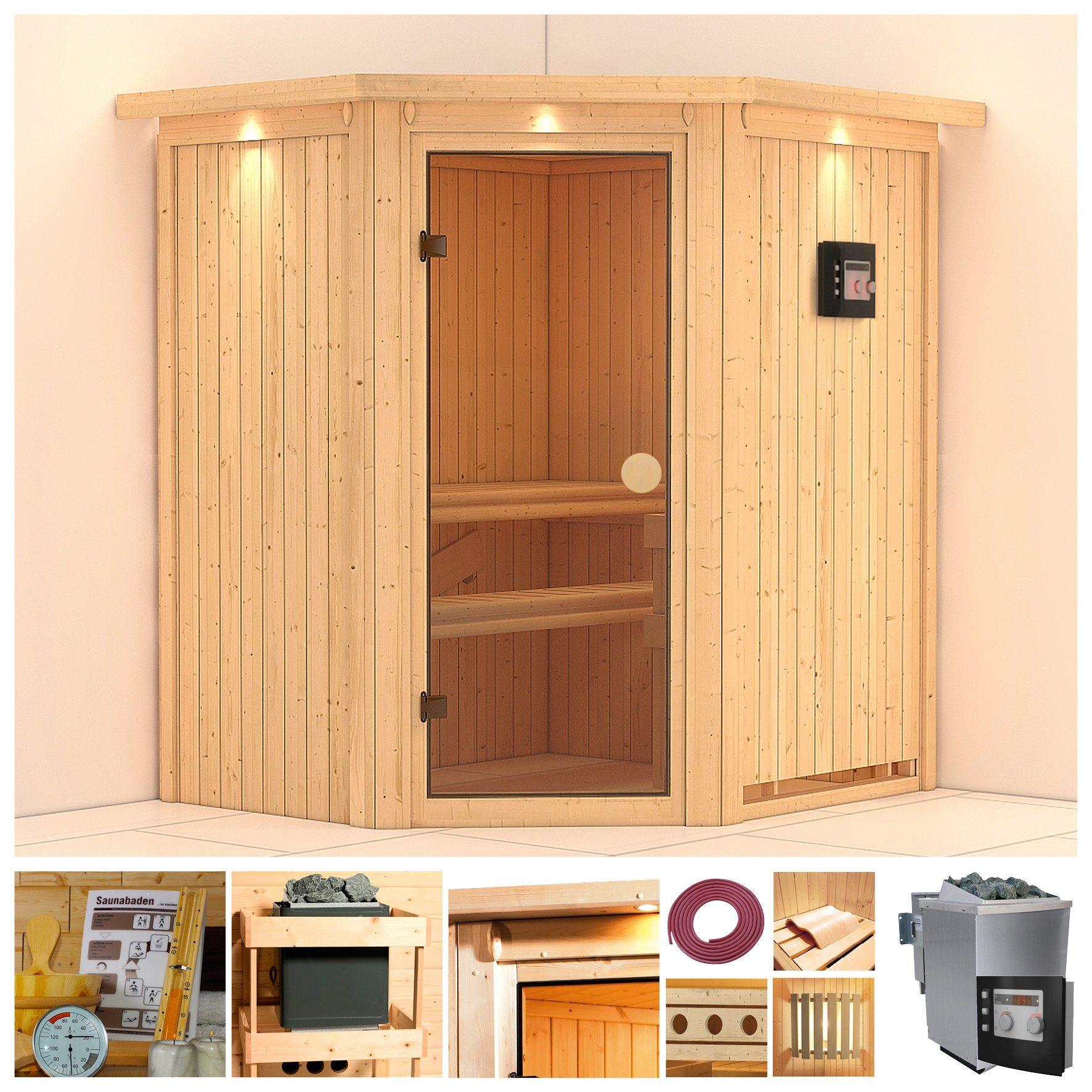 Sauna »Carolin«, 170/151/198 cm, 9-KW Bio-Kombiofen