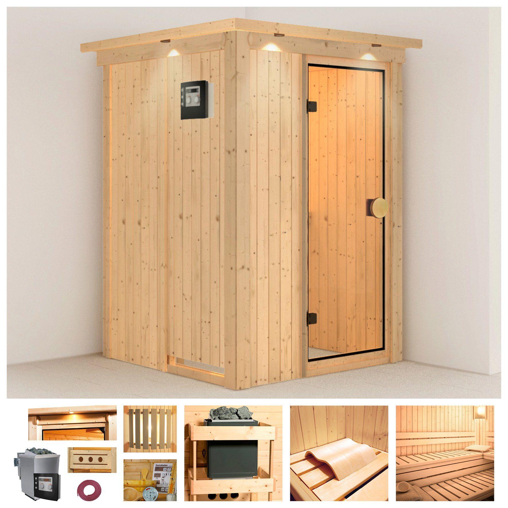 KONIFERA Sauna »Linda«, 136/136/198 cm, 9-KW Bio-Kombiofen