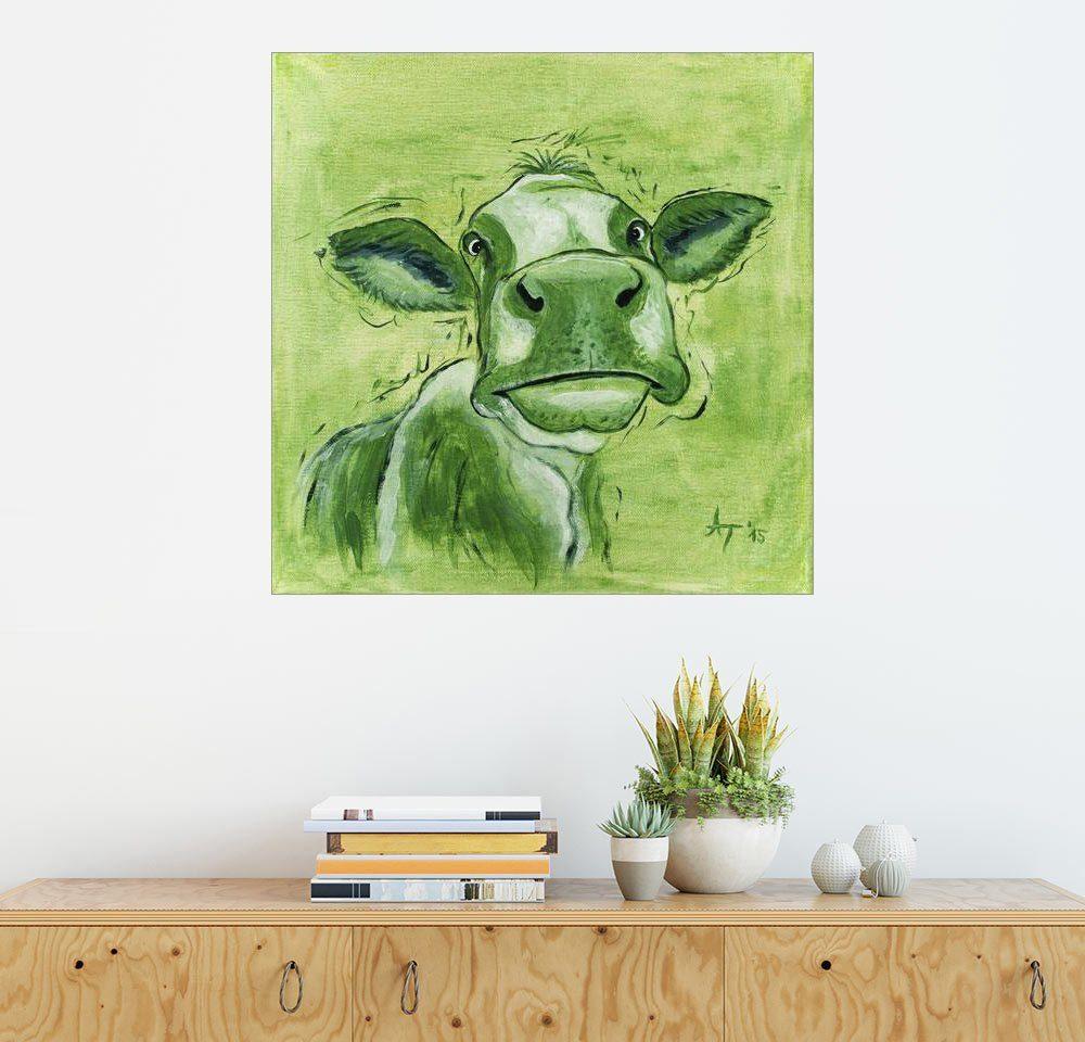 Posterlounge Wandbild - Annett Tropschug »Die olivfarbene Kuh Caspa«