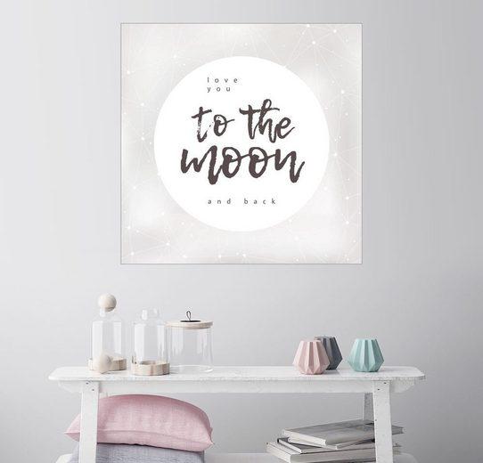 Posterlounge Wandbild - Typobox »to the moon and back«